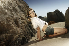 Modello sulla spiaggia Fotografia Stock Libera da Diritti