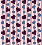 Modello sveglio dei cuori in rosso ed in blu Fotografia Stock