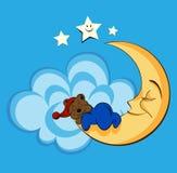 Modello sveglio del bambino con l'orso, la luna ed il cielo del fumetto immagini stock libere da diritti