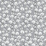 Modello sveglio del fronte del coniglio Fondo disegnato a mano senza cuciture Immagine Stock Libera da Diritti