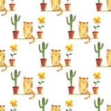 Modello sveglio del gatto e del cactus e dei vasi da fiori dell'acquerello royalty illustrazione gratis