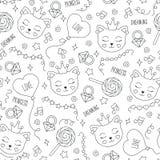 Modello sveglio del gatto su un fondo bianco Modello senza cuciture del profilo in bianco e nero dell'estratto Disegno per i vest illustrazione di stock