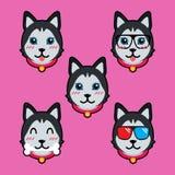 Modello sveglio dell'illustrazione di progettazione di vettore del fumetto del cane illustrazione vettoriale
