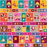 Modello sveglio della carta per appunti del collage della natura dei fiori, degli uccelli, dei funghi & delle lumache Fotografie Stock Libere da Diritti