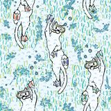 Modello sveglio di Aqua Cartoon Diving Cats Vector royalty illustrazione gratis