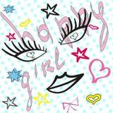 Modello sveglio di modo con i distintivi della toppa: labbra, cuore, occhi, stella, Fotografie Stock