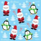 Modello sveglio e divertente del pinguino e di Santa Claus Fotografia Stock Libera da Diritti