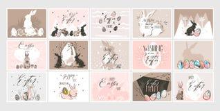Modello sveglio felice delle cartoline d'auguri delle illustrazioni di Pasqua di vettore del collage scandinavo grafico disegnato illustrazione di stock