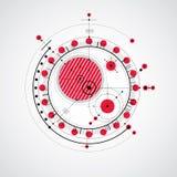 Modello tecnico, fondo digitale di vettore rosso con il geometri Fotografia Stock
