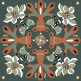 Modello tradizionale cinese orientale del quadrato del pesce rosso del fiore di loto Fotografia Stock Libera da Diritti