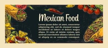 Modello tradizionale messicano del menu del ristorante dell'alimento con il piatto piccante tradizionale Fotografie Stock Libere da Diritti