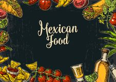 Modello tradizionale messicano del menu del ristorante dell'alimento con il piatto piccante tradizionale Immagine Stock Libera da Diritti