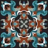 Modello tradizionale orientale del quadrato del pesce rosso del fiore di loto Fotografie Stock Libere da Diritti