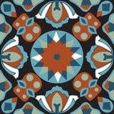 Modello tradizionale orientale del quadrato del pesce rosso del fiore di loto Fotografie Stock