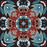 Modello tradizionale orientale del quadrato del pesce rosso del fiore di loto Immagine Stock