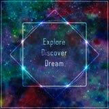 Modello trasparente con il messaggio: esplori, scopra, sogni Immagine Stock