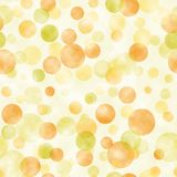 Modello trasparente watercolored giallo e verde del fondo dei cerchi Fotografie Stock