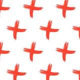 Modello trasversale del segno di vettore Fondo astratto con i colpi rossi della spazzola Pantaloni a vita bassa disegnati a mano  Immagini Stock