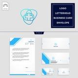modello trasversale medico di logo e carta intestata libera, busta, biglietto da visita royalty illustrazione gratis