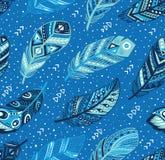Modello tribale delle piume nei colori blu Illustrazione creativa di vettore Fotografia Stock