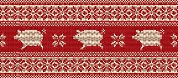 Modello tricottato con i maiali nei colori rossi e bianchi Immagini Stock