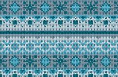 Modello tricottato di inverno del maglione senza cuciture in blu Immagine Stock