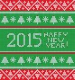 Modello tricottato Natale luminoso con gli alberi, Immagine Stock Libera da Diritti
