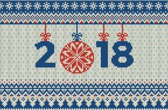 Modello tricottato senza cuciture del nuovo anno e di Buon Natale con le palle, i fiocchi di neve e l'abete di Natale Stile scand Fotografia Stock