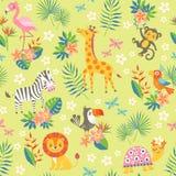 Modello tropicale con gli animali svegli Fotografia Stock