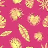 Modello tropicale di contorno senza cuciture, con le foglie esotiche Fotografia Stock Libera da Diritti