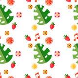 Modello tropicale di estate con i frutti e le foglie Fotografie Stock