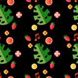 Modello tropicale di estate con i frutti e le foglie Modello luminoso di estate Fotografie Stock