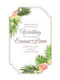 Modello tropicale esotico della carta dell'invito di nozze Fotografia Stock