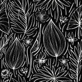 Modello tropicale luminoso artistico senza cuciture di vettore in bianco e nero bello con la foglia, floreale alla moda originale illustrazione vettoriale