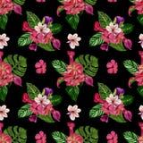 Modello tropicale senza cuciture con i fiori esotici Illustrazione della pittura dell'acquerello di un fondo tropicale fotografia stock