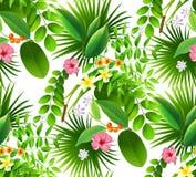 Modello tropicale senza cuciture con le foglie di palma per progettazione del tessuto o Fotografia Stock