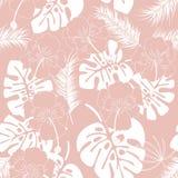 Modello tropicale senza cuciture con le foglie ed i fiori bianchi di monstera illustrazione vettoriale