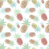 Modello tropicale senza cuciture con un ananas Illustrazione di estate di vettore di un fenicottero per i bambini, tessuti, fondo illustrazione vettoriale