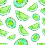 Modello tropicale senza cuciture della calce e dei kiwi dell'acquerello Fondo esotico della frutta verde Illustrazione di Stock