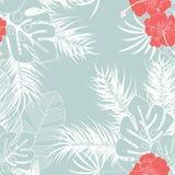 Modello tropicale senza cuciture di estate con le foglie di palma ed i fiori di monstera royalty illustrazione gratis