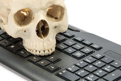 Modello umano del cranio con la tastiera Fotografia Stock Libera da Diritti