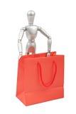 Modello umano del manichino d'argento con i sacchetti della spesa Immagine Stock Libera da Diritti