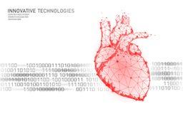 Modello umano sano della medicina dei battiti cardiaci 3d in basso poli Fondo di rosso del punto di incandescenza dei punti colle illustrazione di stock