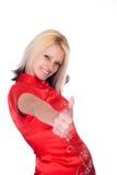 Modello in un colore rosso Fotografie Stock