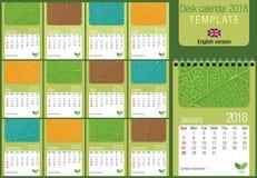 Modello utile 2018 del calendario da scrivania con struttura della foglia su fondo verde royalty illustrazione gratis