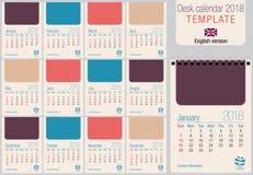 Modello utile 2018 del calendario da scrivania nei colori pastelli, pronta per la stampa sul laser o contrappeso illustrazione vettoriale