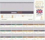 Modello utile 2017 del calendario del triangolo dello scrittorio illustrazione di stock