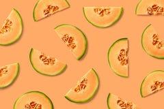 Modello variopinto della frutta delle fette del melone fotografie stock