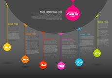 Modello variopinto di rapporto di cronologia di Infographic con le gocce illustrazione vettoriale