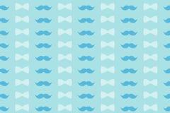 Modello variopinto nei toni delicatamente blu - baffi e farfallino per progettazione, la carta da parati e la decorazione Fotografia Stock Libera da Diritti